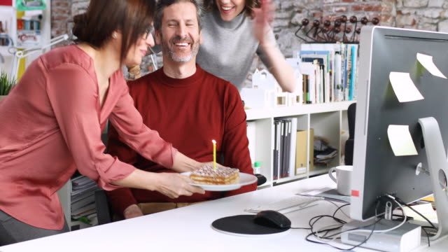 birthday celebrations at the office. - birthday gift stock videos & royalty-free footage