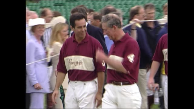 prince charles and queen at polo match england berkshire ext prince charles prince of wales on horse playing in polo match charles off horse at end... - resting stock videos & royalty-free footage