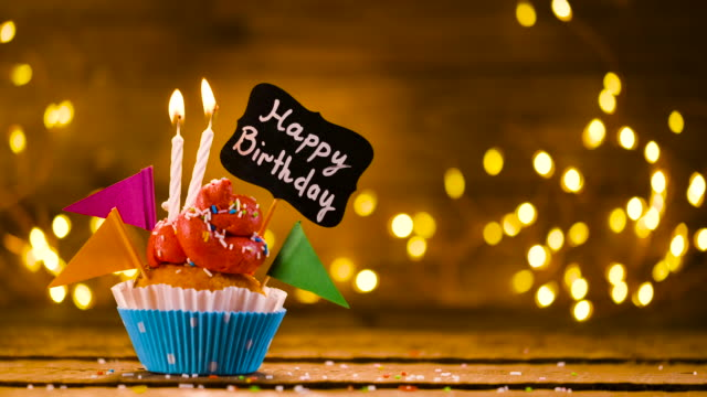 birthday cupcake with text and candles - birthday candle stock videos & royalty-free footage