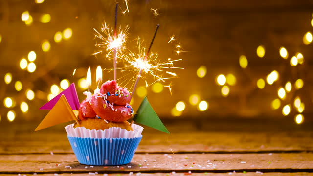 birthday cupcake with text and sparkler - birthday cake stock videos & royalty-free footage