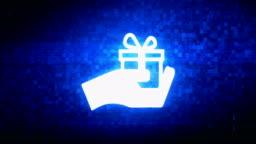 Birthday gift box Symbol Digital Pixel Noise Error Animation.