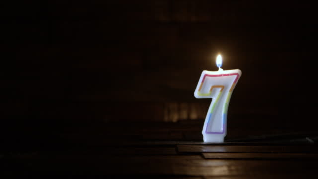 birthday or anniversary candle number seven age concept - number 7 stock videos & royalty-free footage