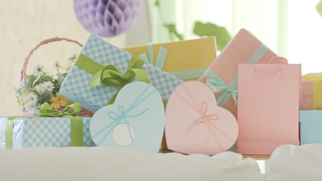 birthday or baby shower party gifts - baby shower video stock e b–roll