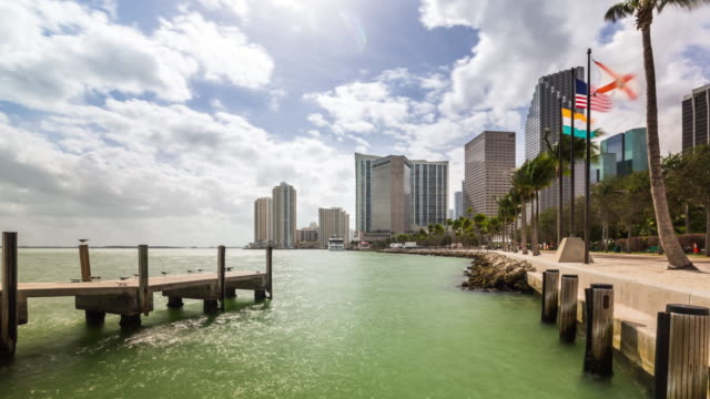 biscayne bay waterfront time lapse of miami downtown. view from market place pier. florida, usa - biscayne bay stock-videos und b-roll-filmmaterial