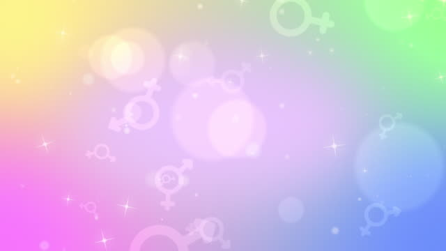 bisexual symbols icons looping unicorn colors background - symbol stock-videos und b-roll-filmmaterial