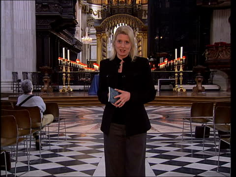 bishop of london joins up with mayor to launch 'greener churches' campaign england london st paul's cathedral int low angle shot of ornate roof tilt... - congregation stock videos and b-roll footage
