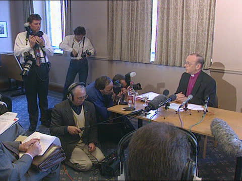 stockvideo's en b-roll-footage met bishop of london named new archbishop of york:; england: london: westminster: church house: int cms dr david hope seated at pkf tcbv technician... - new not politics