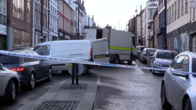 bishop street in londonderry remains cordoned off the morning after a car bomb attack on the court house dup mla gary middleton has condemned the... - court stock videos & royalty-free footage
