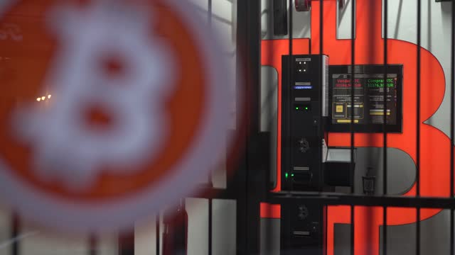 bitcoin atm machine, to buy or sell cryptocurrencies, is placed within a safety cage on january 29, 2021 in barcelona, spain. the european union... - blockchain stock videos & royalty-free footage