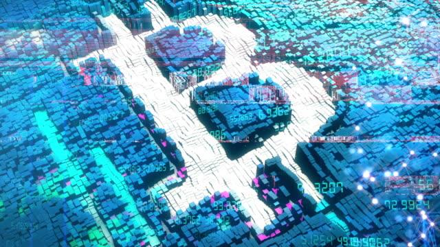 ビットコイン背景アニメーションループ - ピア・ツー・ピア点の映像素材/bロール