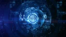 Bitcoin blockchain crypto currency digital encryption, Digital money exchange, Technology global network connections background concept.