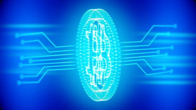 bitcoin 青色の回路基板と単発の背景 - ピア・ツー・ピア点の映像素材/bロール