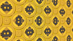 Bitcoin (BTC) cryptocurrency 3D symbol business financial kaleidoscope pattern background video loop