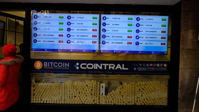 bitcoin exchange office located near the istanbul grand bazaar on 14 december 2021 leading virtual currency bitcoin traded above $39,600 for the... - blockchain stock videos & royalty-free footage