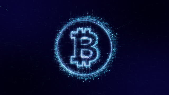bitcoin icon digital code technology background - blockchain stock videos & royalty-free footage