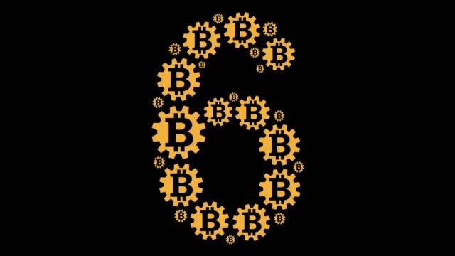 stockvideo's en b-roll-footage met bitcoin nummer zes - getal 6