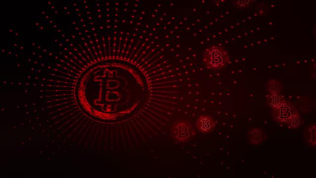 ビットコイン赤 - ピア・ツー・ピア点の映像素材/bロール