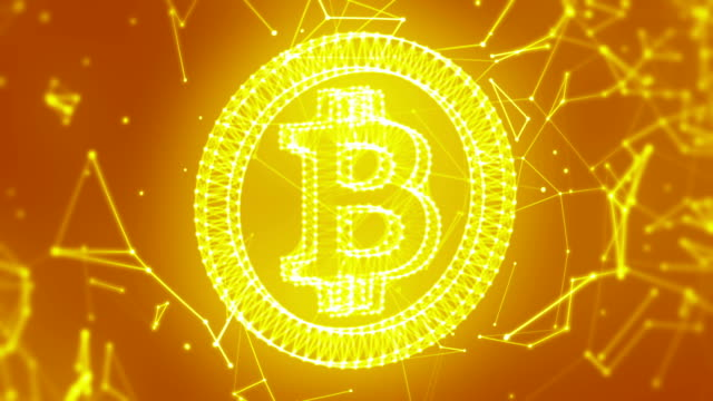 接続のゴールデン単発背景 bitcoin - ピア・ツー・ピア点の映像素材/bロール