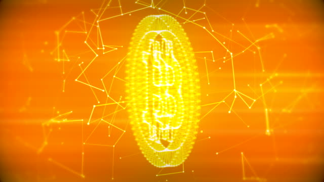 bitcoin with connections golden loopable background - bitcoin stock videos and b-roll footage