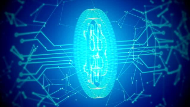 回路基板と接続単発青い背景を持つ bitcoin - ピア・ツー・ピア点の映像素材/bロール