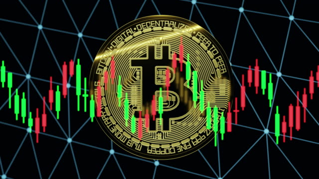 bitcoin with market candlestick chart - cryptocurrency stock videos & royalty-free footage