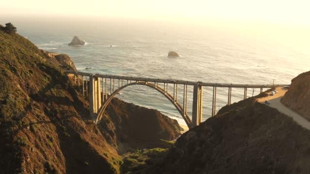 bixby bridge and pacific ocean - bixby creek bridge stock videos & royalty-free footage