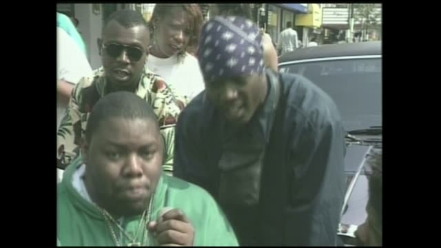biz markie and treach of naughty by nature freestyle rap on 125th street in harlem - hip hop stock videos & royalty-free footage