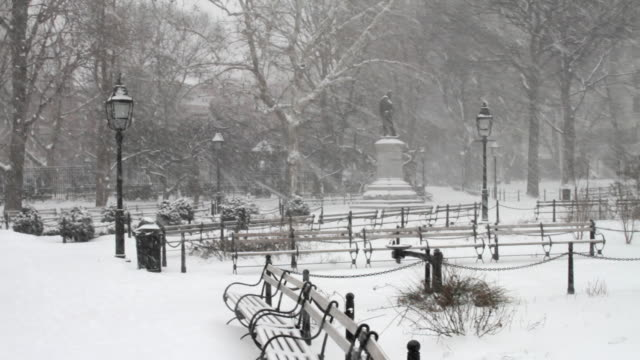 A bizzard scene in Washington Square Park. Shown are empty benches.