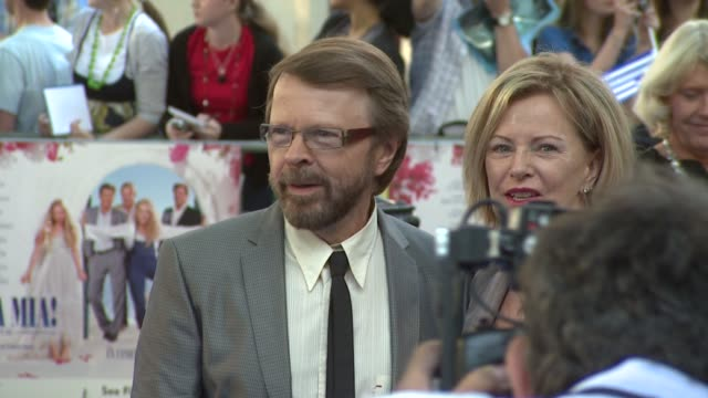 bjorn ulvaeus and frida reuss at the mamma mia premiere at london - mamma mia stock videos and b-roll footage