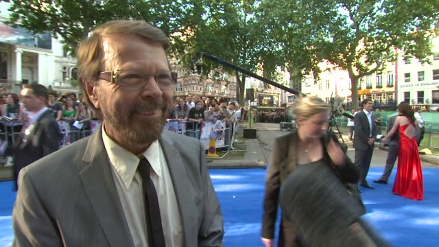 bjorn ulvaeus on his music coming to film and meryl streep at the mamma mia premiere at london - mamma mia stock videos and b-roll footage