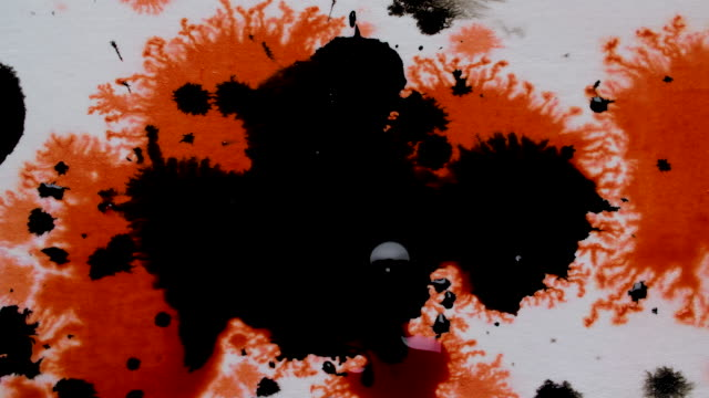 black and red ink droplets splashing on to white background - しみ点の映像素材/bロール
