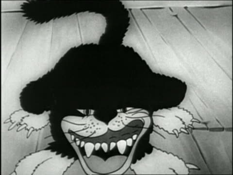 black and white 1932 animation close up black cat opening mouth w/sharp teeth and waving tail / audio - claw stock videos and b-roll footage