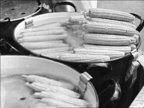 Black and white 1940 close up corn on the cob cooking in large pots / Coney Island, NY / industrial /AUDIO