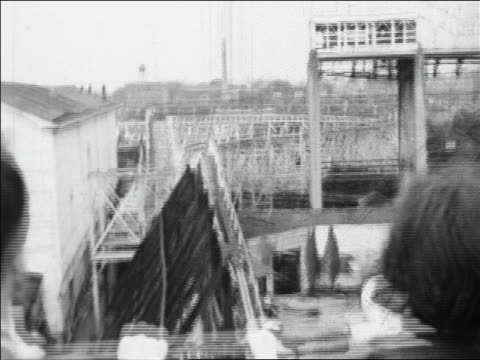 black and white 1940 roller coaster point of view speeding down hill / coney island, ny / industrial /audio - 1940 stock videos & royalty-free footage
