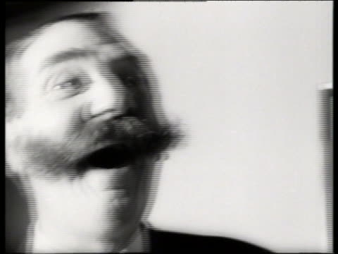 black and white 1965 close up of man with large mustache laughing / audio - 35 39 years stock videos & royalty-free footage