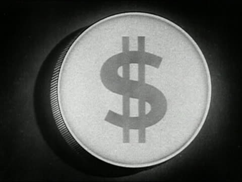 "1947 black and white animation dollar coin / slice of pie representing ""cost of service"" / audio - dollar symbol stock videos & royalty-free footage"