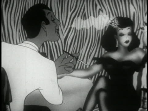 black and white animation man and woman sitting in nightclub / man turns into werewolf w/eyes bulging out - innamorarsi video stock e b–roll