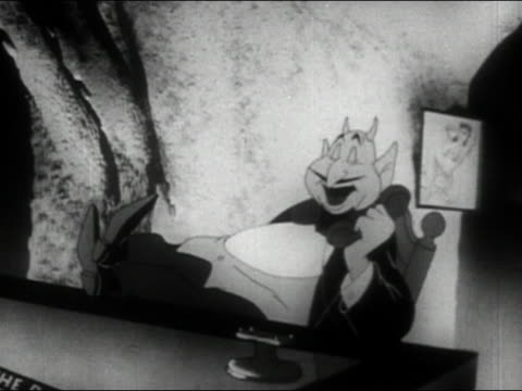 Black and white ANIMATION medium shot devil in chair at desk talking on phone and smoking cigar / flipping through atlas