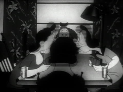 vidéos et rushes de black and white animation medium shot women playing cards and gossiping / turning into chickens / audio - medium group of animals