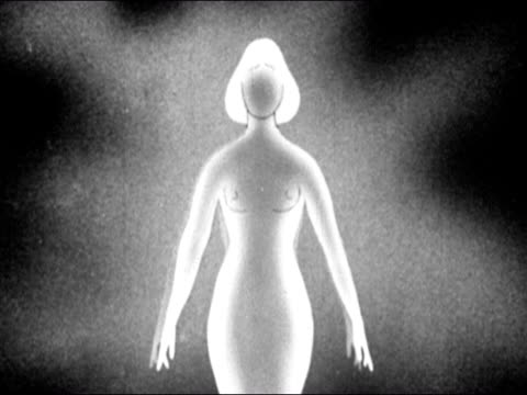 1953 black and white animation of adolescent girl going through puberty / breast and body hair growing / hips widening / voice changing / audio - weibliche figur stock-videos und b-roll-filmmaterial