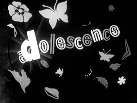 1953 black and white animation of the word adolescence surrounded by flowers and butterflies / the d flipping over to become a p for puberty / audio - cartoon p stock videos & royalty-free footage