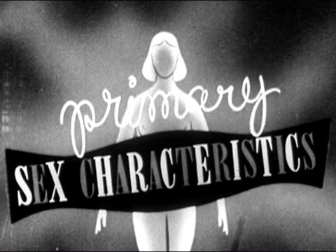 1953 Black and white animation of the words primary sex characteristics over image of adolescent girl / zoom in on pelvis / AUDIO