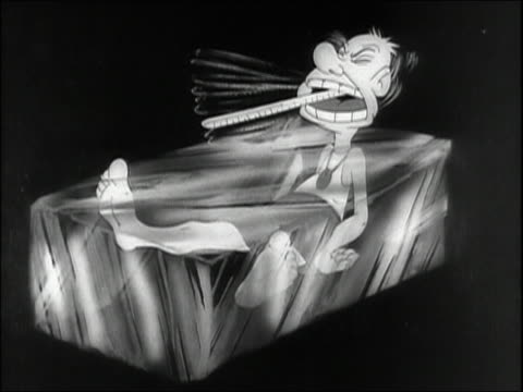 stockvideo's en b-roll-footage met 1944 black and white animation 'pvt. snafu' sitting in frying pan (fever) / ice cube (chills) with malaria / audio - bevroren