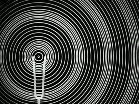 vidéos et rushes de black and white animation vibrating tuning fork emitting sound waves - image de mouvement vibratoire