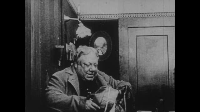 black and white archival footage of the comic actor john bunny, who worked as a stage performer before transitioning to screen acting circa 1910. - 1910 stock videos & royalty-free footage