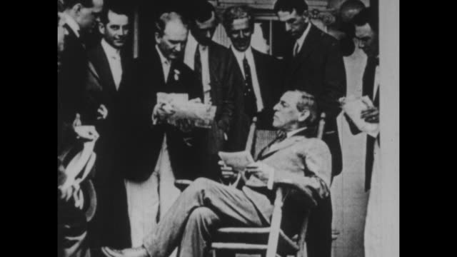 black and white archival footage of then governorelect woodrow wilson reading telegrams circa 1911 wilson later went on to become president of the... - telegram stock videos & royalty-free footage