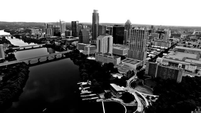 black and white austin, tx aerial of the capital city of texas - viraggio monocromo video stock e b–roll