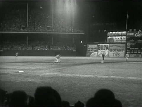1950 black and white baseball game at ebbets field at night / brooklyn new york city - ebbets field video stock e b–roll