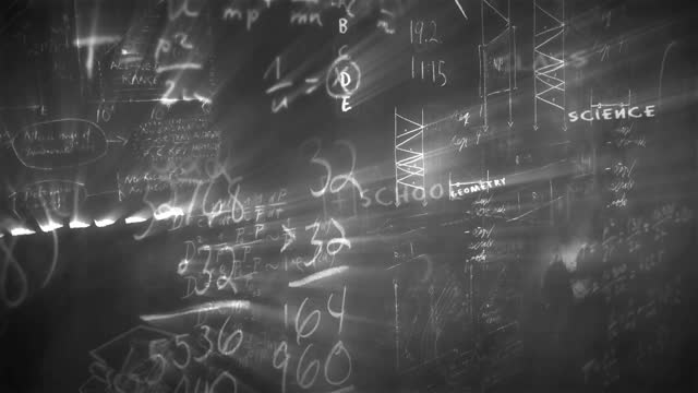 black and white chalkboard loopable. the concept of teaching, research, human, medicine, chemistry, university, brainstorming - film composite stock videos & royalty-free footage