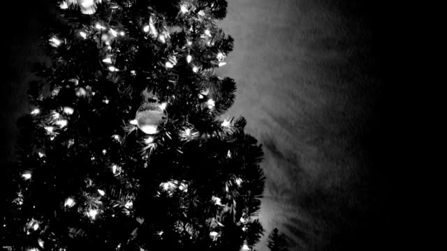 black and white christmas tree colorful xmas lights glowing holiday lights next to tree - black and white stock videos & royalty-free footage